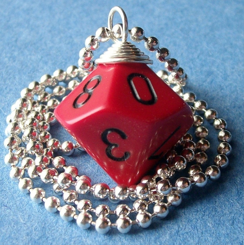 Dungeons and Dragons  D10 Die Pendant  Red with Black image 0