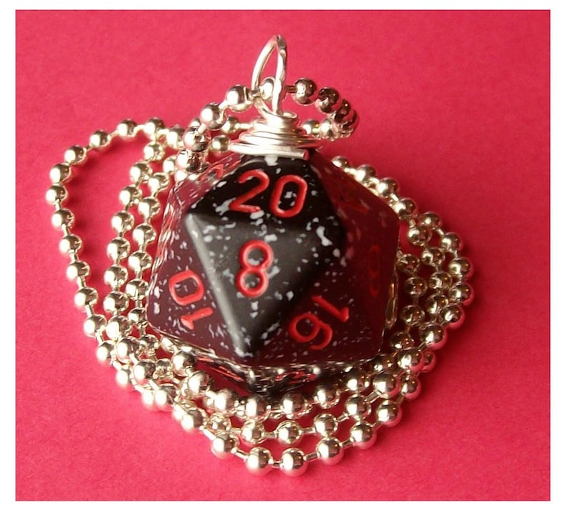 Dungeons and Dragons  D20 Dice Pendant   Space  Black White image 0