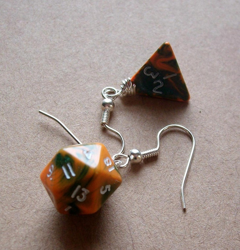D4 D20 Dice Earrings  Toxic Orange  Orange Green Geek Gamer image 0