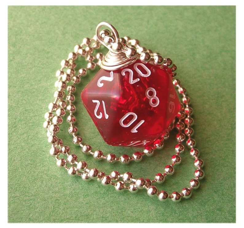 D20 Die Pendant  Dungeons and Dragons  Transparent Red  image 0