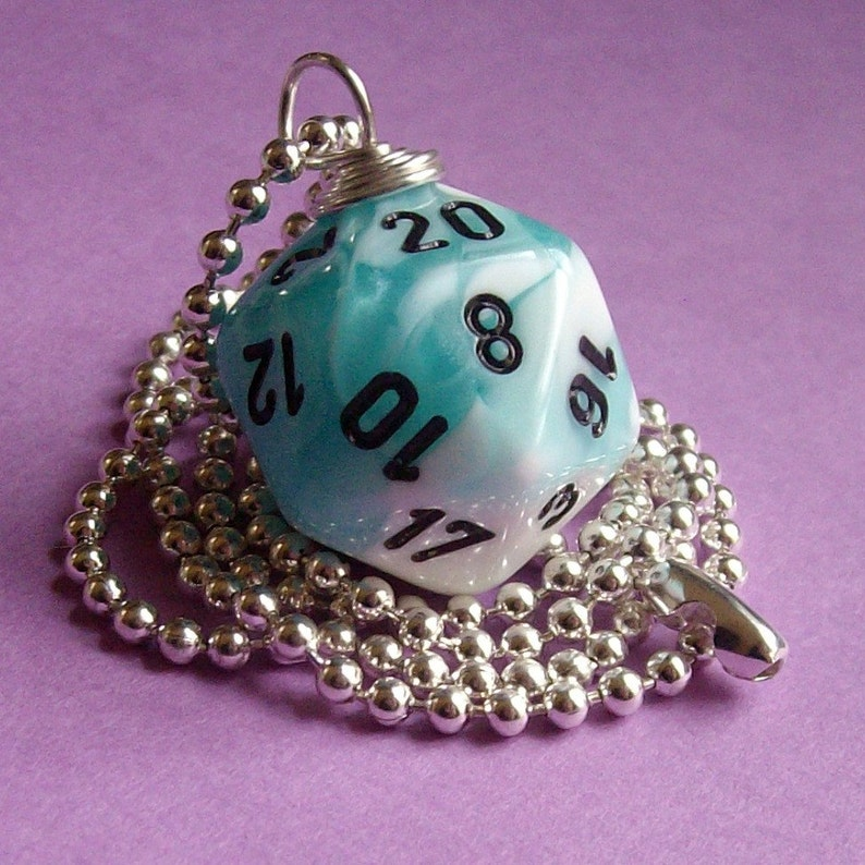 D20 Dice Pendant  Dungeons and Dragons  Gemini Teal with image 0