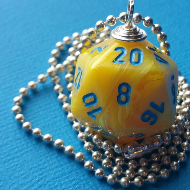 NEW STYLE  Dungeons & Dragons  D20 Die Necklace  Yellow image 0