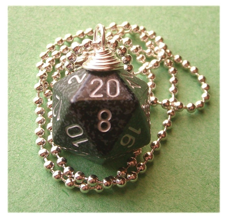 Dungeons and Dragons  D20 Die Necklace  Ninja  Black Gray image 0