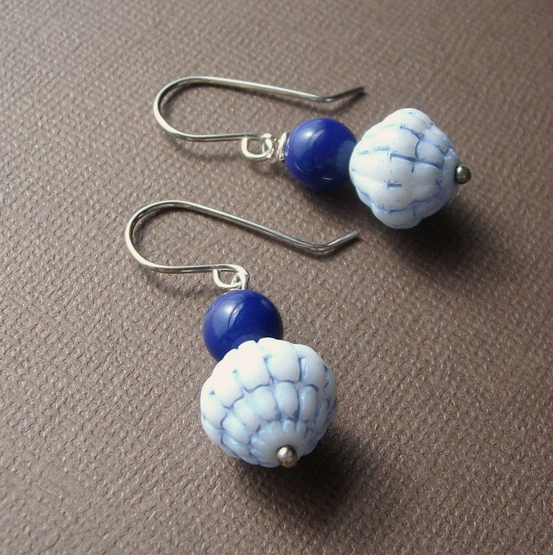 Handmade Sterling Earrings  Baby Blues  Vintage Glass Bead image 0