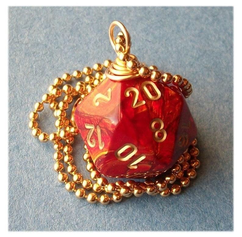 LEGACY D20 Dice Pendant  Scarab Scarlet  Red Gold Geek Gamer image 0