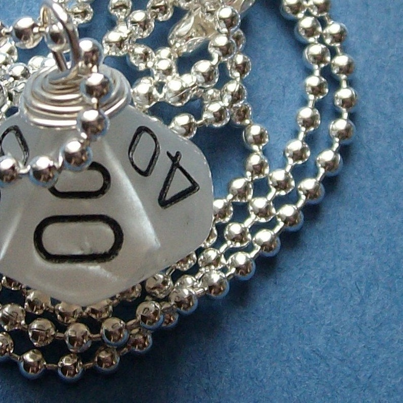 LEGACY D10 Die Pendant  Dungeons and Dragons  Pearl image 0