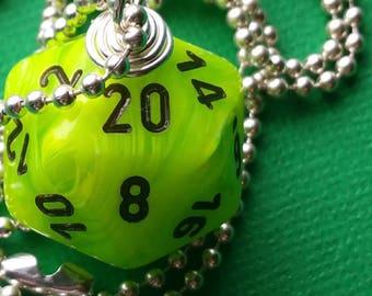 NEW STYLE - Dungeons & Dragons - D20 Die Necklace - Vortex Bright Green/Black