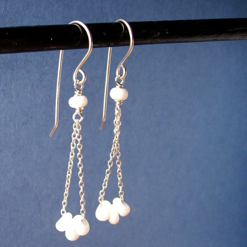 White Queen  Chain Dangle Sterling Silver Earrings   Paw & image 0