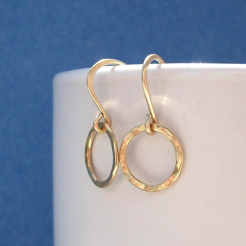 Gold Filled Hoops  Golden Pebbled   Earrings Hammered Rings image 0