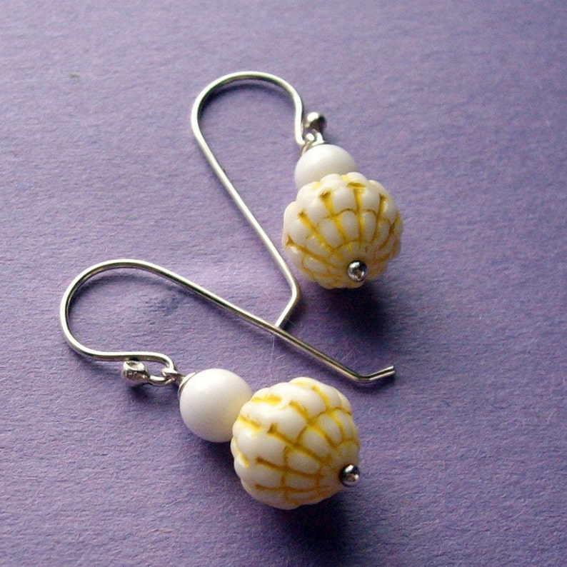Lemon Ice  Silver White Yellow Handmade Sterling Earrings  image 0