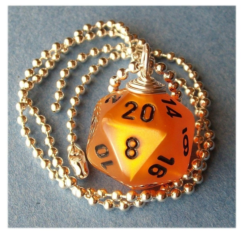Dungeons and Dragons  D20 Dice Pendant  Velvet Orange  Geek image 0