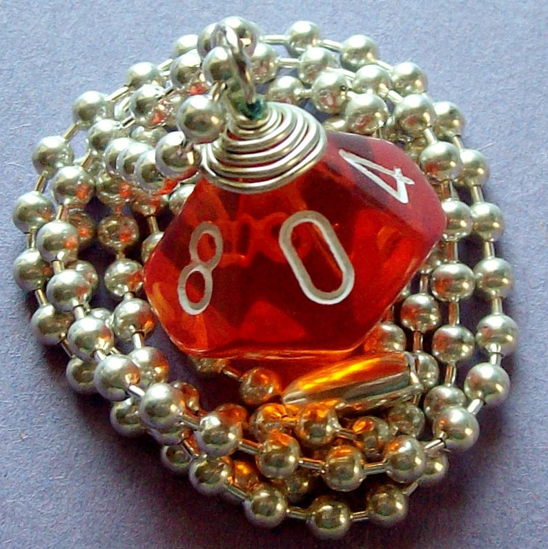 D10 Dice Pendant  Transparent Orange  Geek Gamer DnD Role image 0