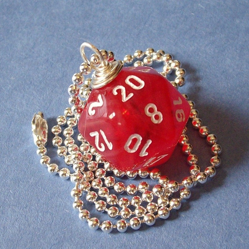 D20 Die Pendant  Dungeons and Dragons  Red Vortex  Geek image 0