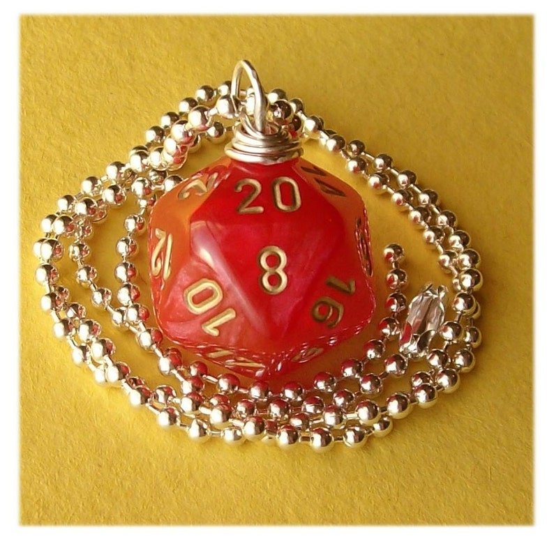 Dungeons and Dragons  D20 Die Pendant  Velvet Red  Geek image 0