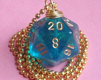 Dungeons and Dragons - D20 Die Necklace -  Teal Borealis - Geek Gamer DnD Role Playing RPG - Paw & Claw Designs