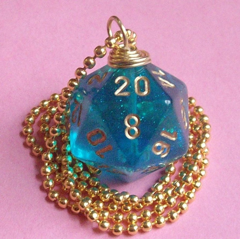 Dungeons and Dragons  D20 Die Necklace   Teal Borealis  image 0