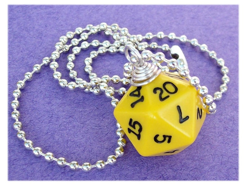Dungeons and Dragons  D20 Dice Pendant  Yellow  Geek Gamer image 0