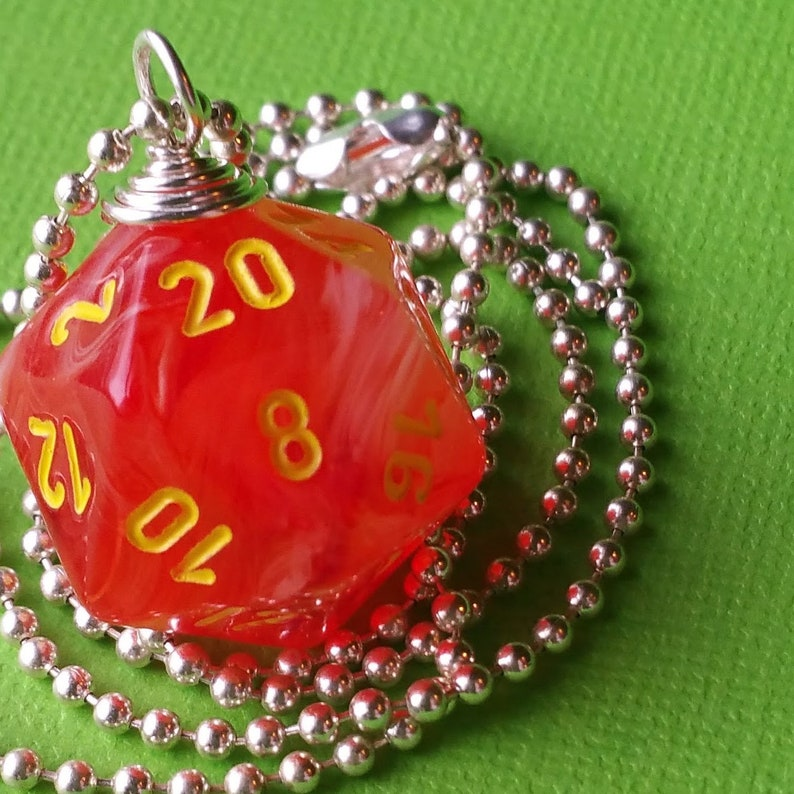 NEW STYLE  Dungeons & Dragons  D20 Die Necklace  Ghostly image 0