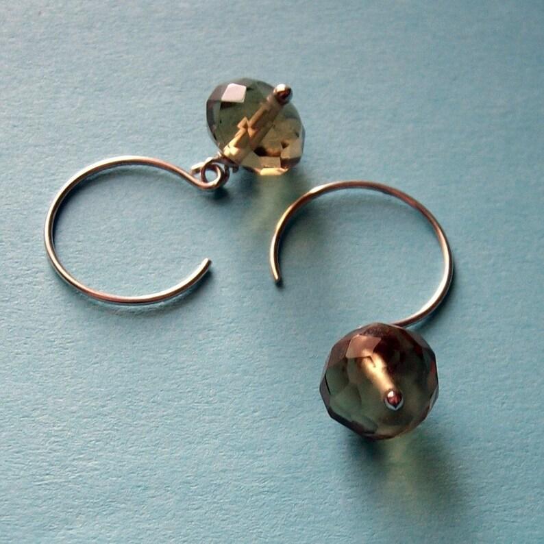 Smoke  Silver Gray Handmade Sterling Earrings   Paw & Claw image 0