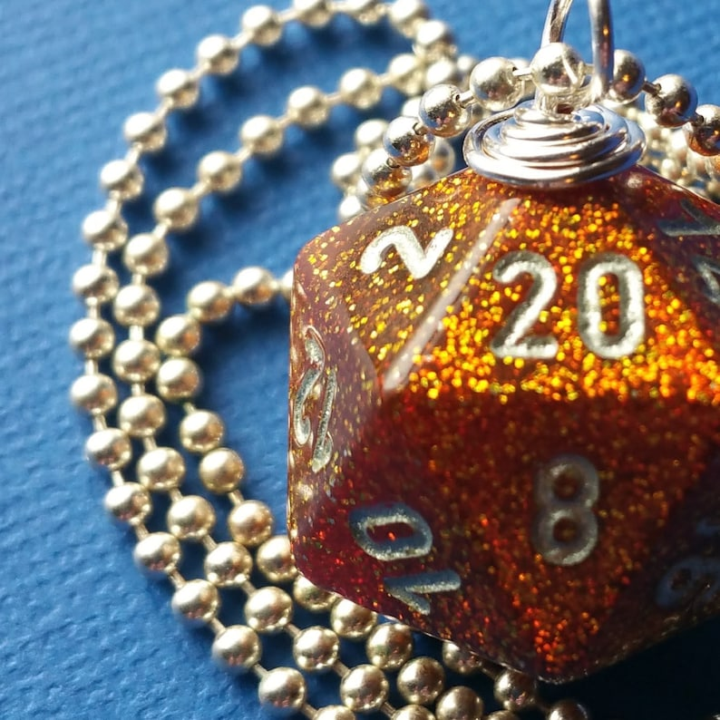 NEW STYLE  Dungeons & Dragons  D20 Die Necklace  Glitter image 0
