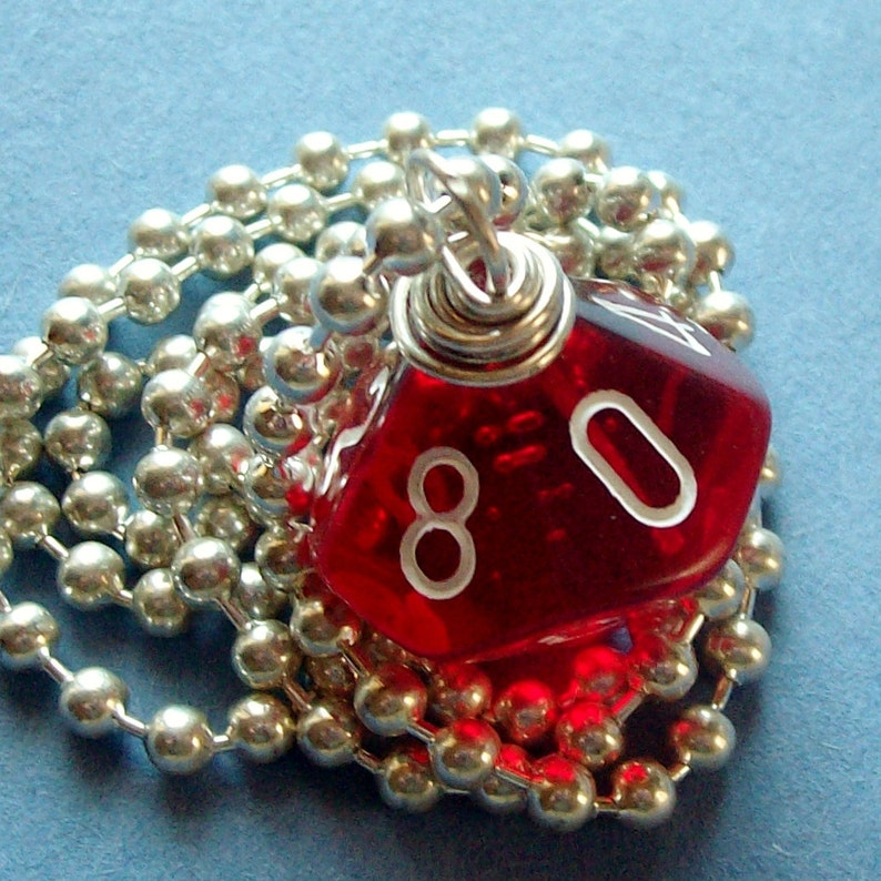 Dungeons and Dragons  D10 Dice Pendant  Transparent Red  image 0