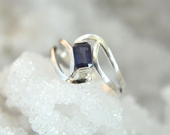 artisan made faceted natural gemstone Amethyst and Sterling Silver ring Enfold