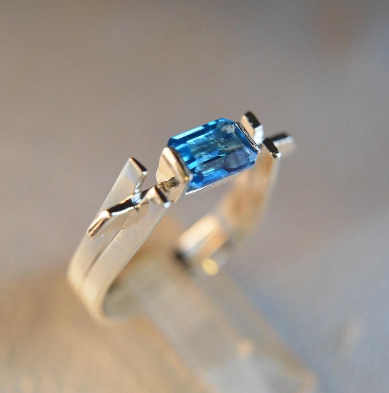 Sterling Silver artisan made gemstone ring Brooklyn Blue Topaz
