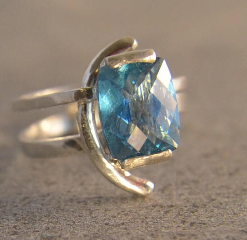 Arctic  Teal Topaz gemstone ring image 0