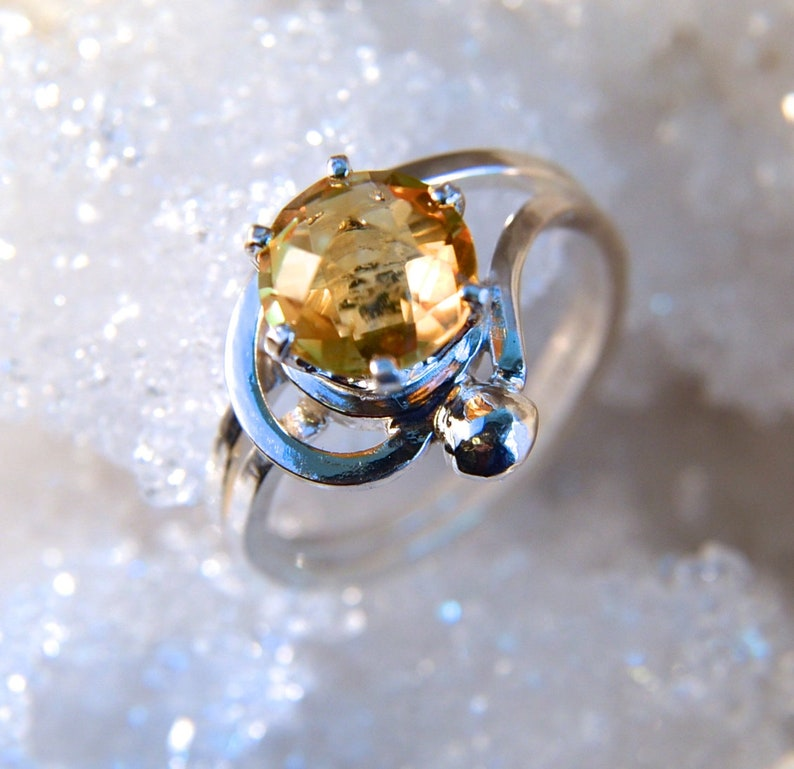Sunbeam  Citrine checker cut gemstone ring sterling silver image 0