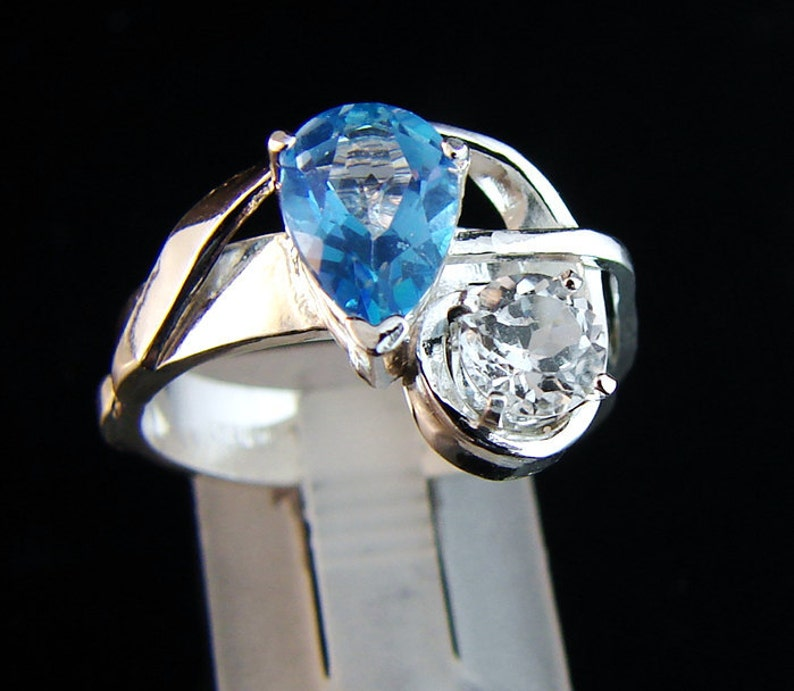 Party of Two  White and Blue Topaz ring image 0