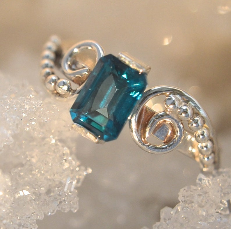 Emerge  Teal Topaz Gemstone and Sterling Silver ring image 0
