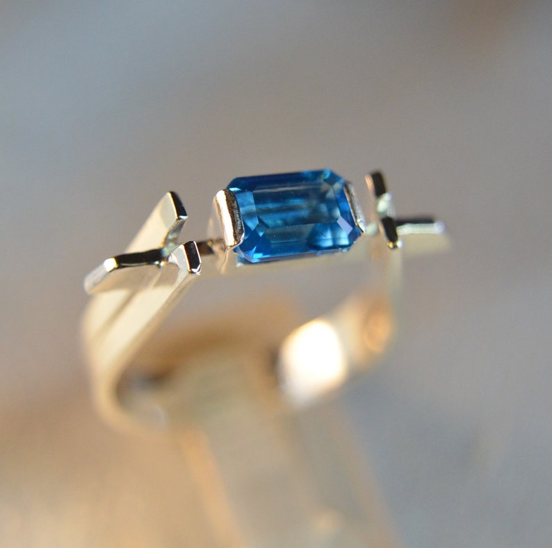 Brooklyn - Blue Topaz, Sterling Silver, artisan made gemstone ring