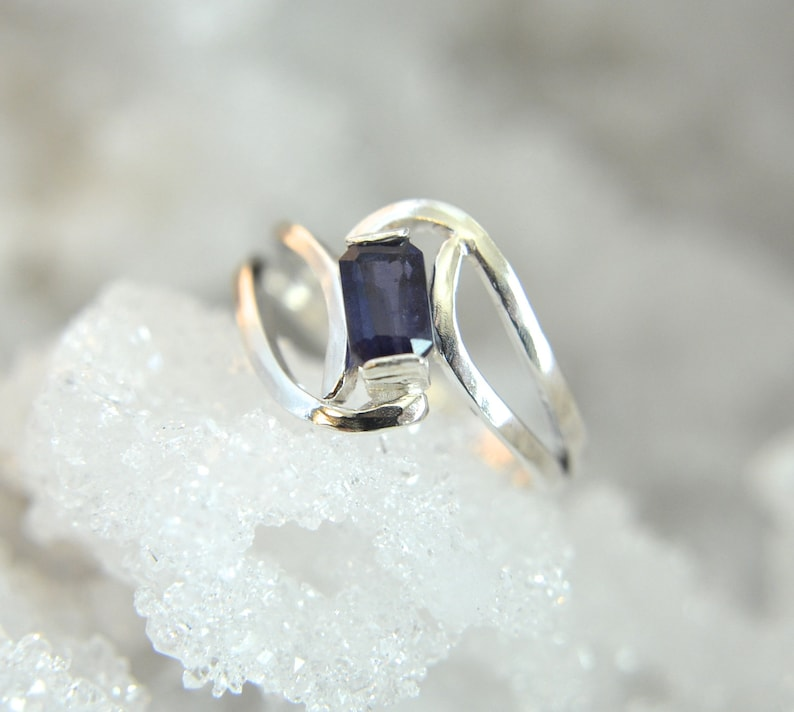 Iris  Blue Iolite gemstone and Sterling Silver ring faceted image 0