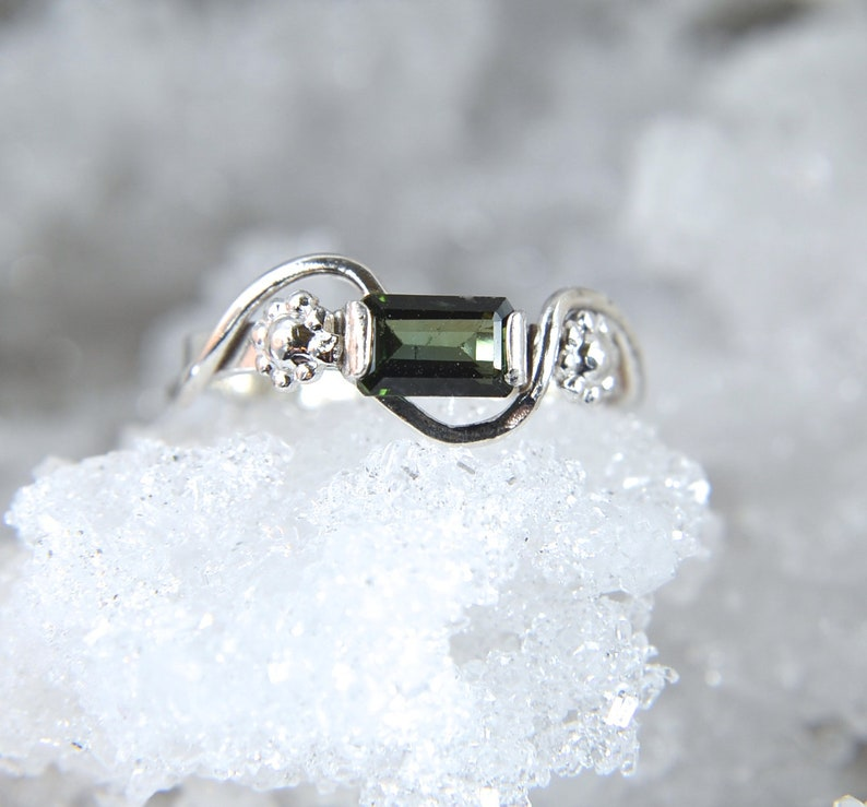 Fresh  Green Tourmaline and sterling silver gemstone ring image 0