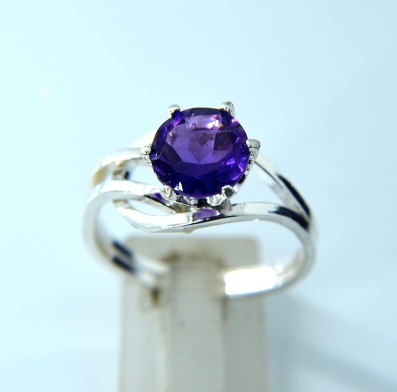 Enfold  Amethyst and Sterling Silver ring faceted natural image 0