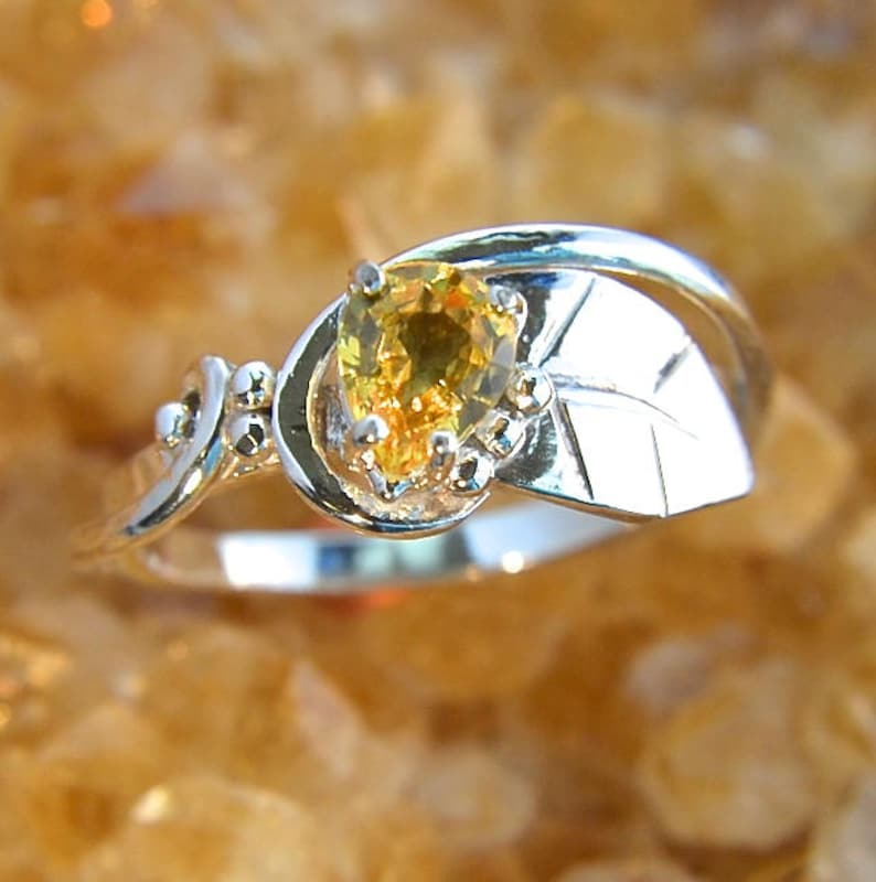 Lemoncello  Yellow Sapphire faceted gemstone and sterling image 0