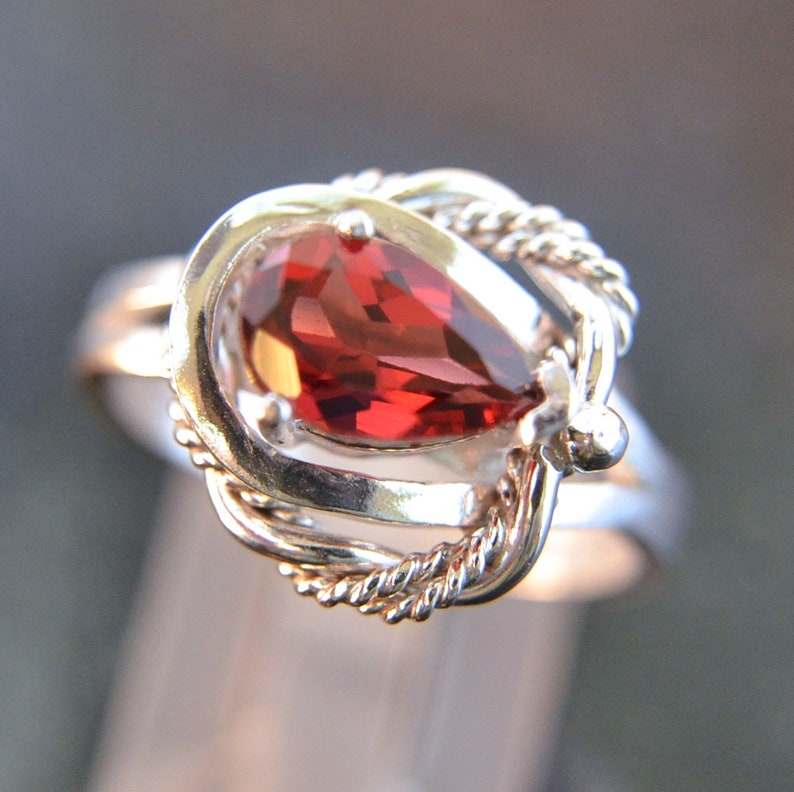 Royal  Garnet gemstone and Sterling Silver handmade ring image 0