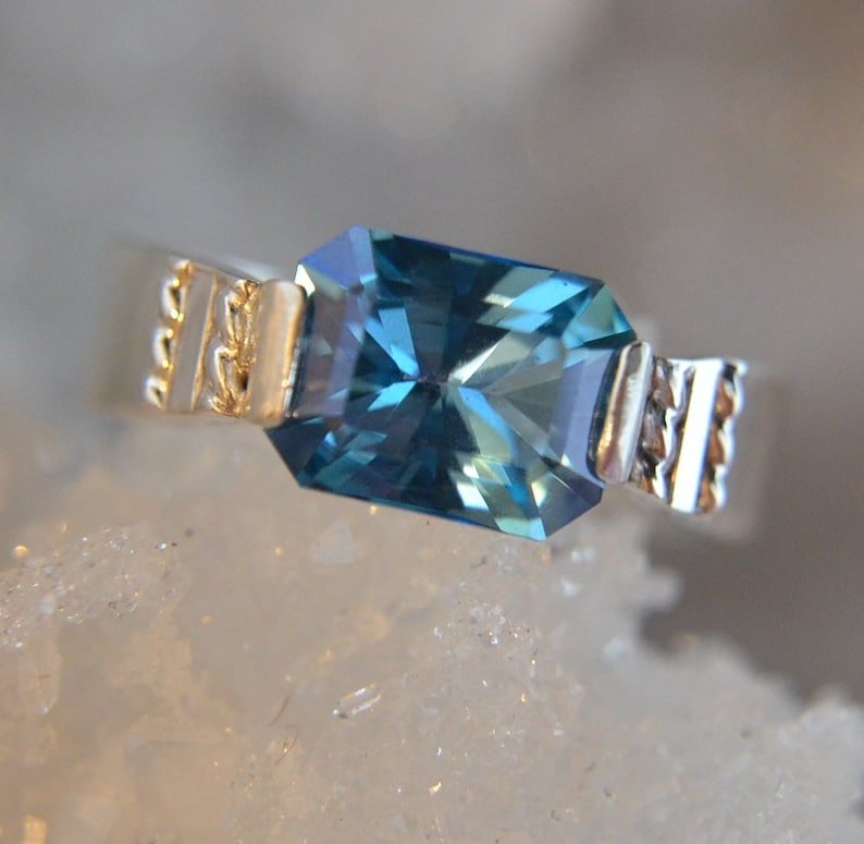Radiant  Blue Topaz gemstone and sterling silver ring image 0