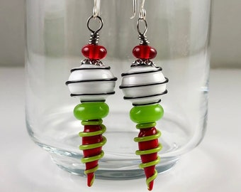 Red White and Green Glass Hollow Bead Earrings
