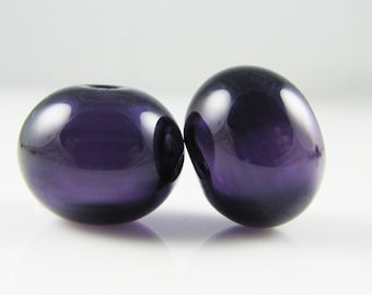 Dark Purple Lampwork Glass Hollow Bead Pairs