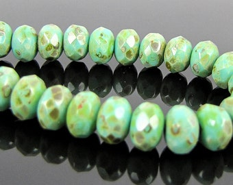 Czech Glass Faceted Gemstone Donut-Turquoise Full Coat Picasso-7x5mm-25 Beads