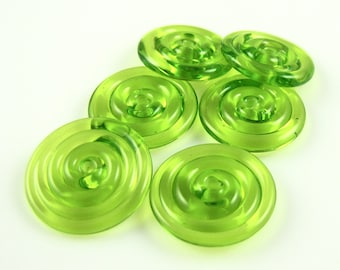 Transparent Lime Green Lampwork Glass Disc Beads-Set of 6