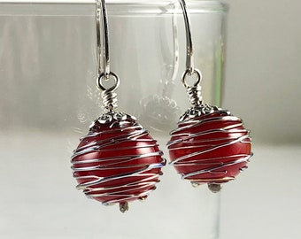 Holiday Red and Metallic Wrapped Glass Hollow Bead Earrings