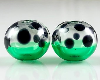 Green and Black Spot Hollow Lampwork Glass Bead Pairs