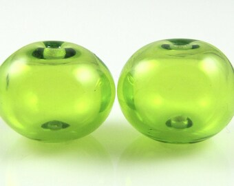 Lime Green Lampwork Glass Hollow Bead Pairs