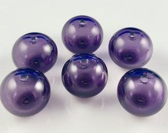 Small Purple Hollow Lampwork Glass Bead Set (6)