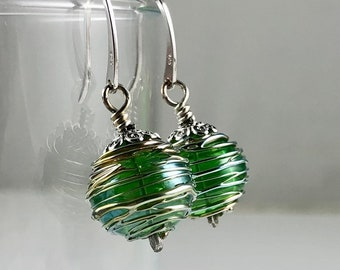 Holiday Green and Metallic Wrapped Glass Hollow Bead Earrings