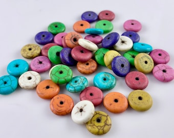 Loose Stone Disc Spacer Beads - Assorted Colors - (48)