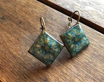 Turquoise earrings, Resin Earrings, Colorful earrings, tile earrings, dangle drop earrings, festival earrings, turquoise, diamond, jewelry