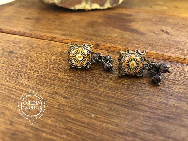 Tile, Islamic art, Islamic earrings, islamic jewelry, History teacher gift,  post earrings, Islamic tile, Islamic gifts, Islamic tile
